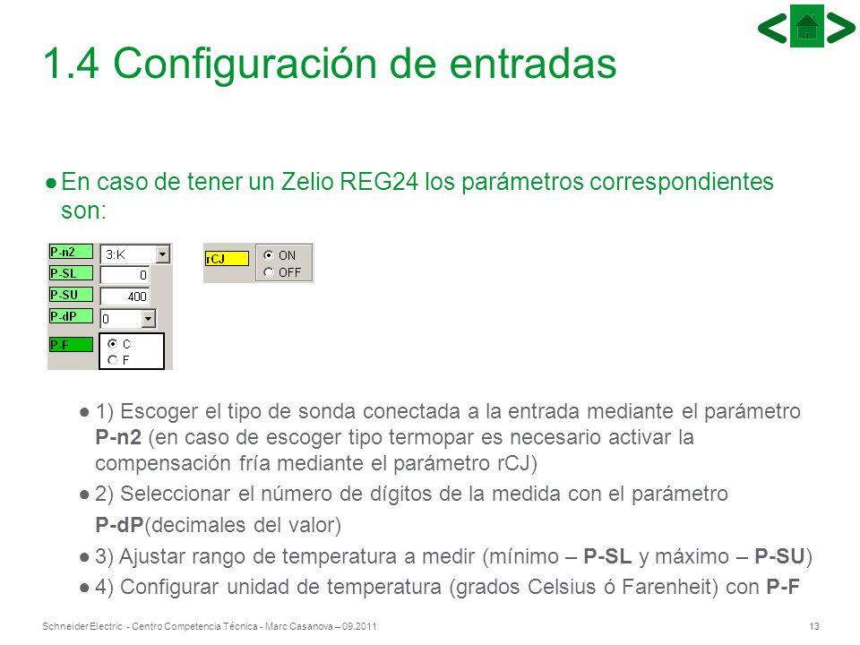 13Schneider Electric - Centro Competencia Técnica - Marc Casanova – 09.2011 1.4 Configuración de entradas En caso de tener un Zelio REG24 los parámetr