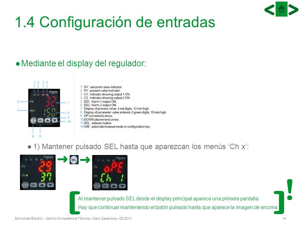 14Schneider Electric - Centro Competencia Técnica - Marc Casanova – 09.2011 1.4 Configuración de entradas Mediante el display del regulador: 1) Manten