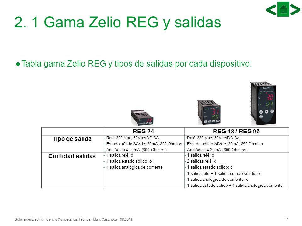 17Schneider Electric - Centro Competencia Técnica - Marc Casanova – 09.2011 2. 1 Gama Zelio REG y salidas REG 24REG 48 / REG 96 Tipo de salida - Relé