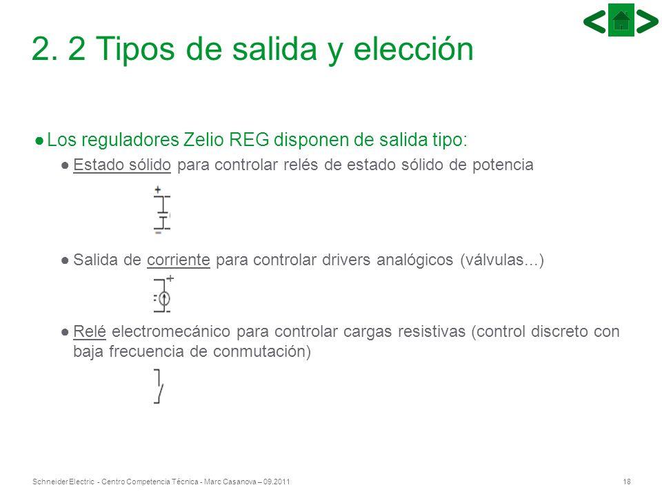 18Schneider Electric - Centro Competencia Técnica - Marc Casanova – 09.2011 + 2. 2 Tipos de salida y elección Los reguladores Zelio REG disponen de sa