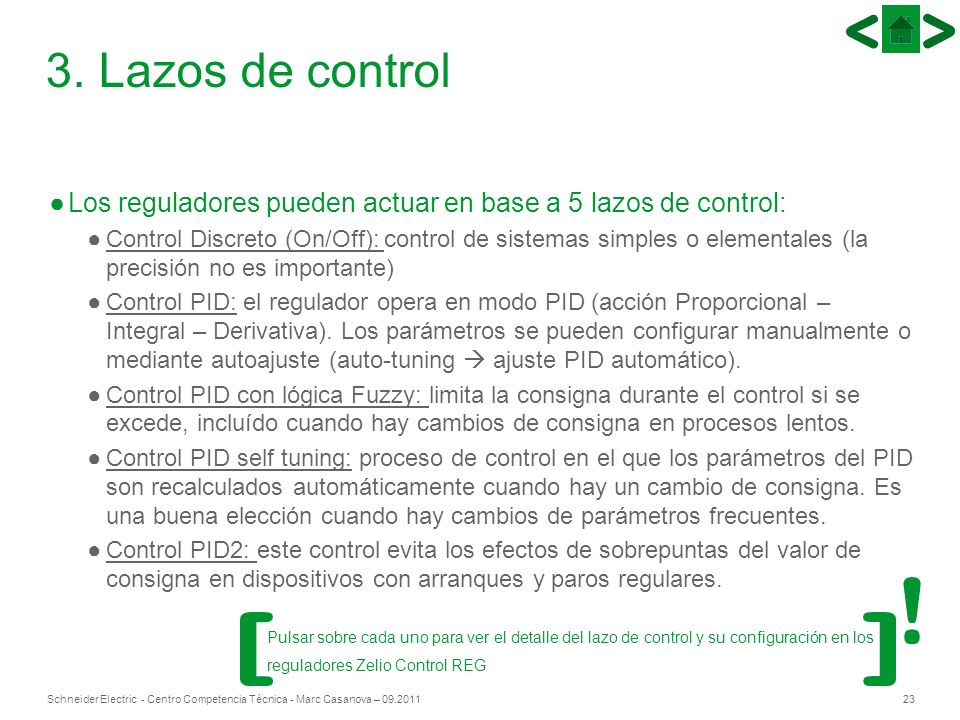 23Schneider Electric - Centro Competencia Técnica - Marc Casanova – 09.2011 3. Lazos de control Los reguladores pueden actuar en base a 5 lazos de con