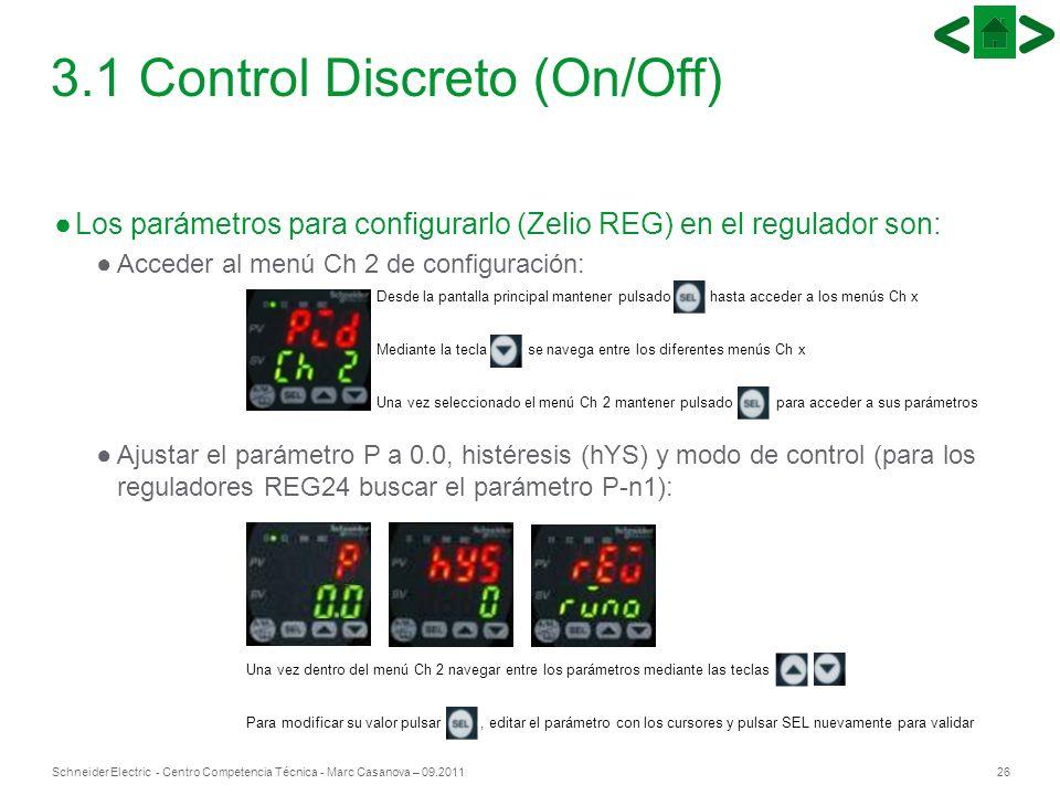 26Schneider Electric - Centro Competencia Técnica - Marc Casanova – 09.2011 Desde la pantalla principal mantener pulsado hasta acceder a los menús Ch