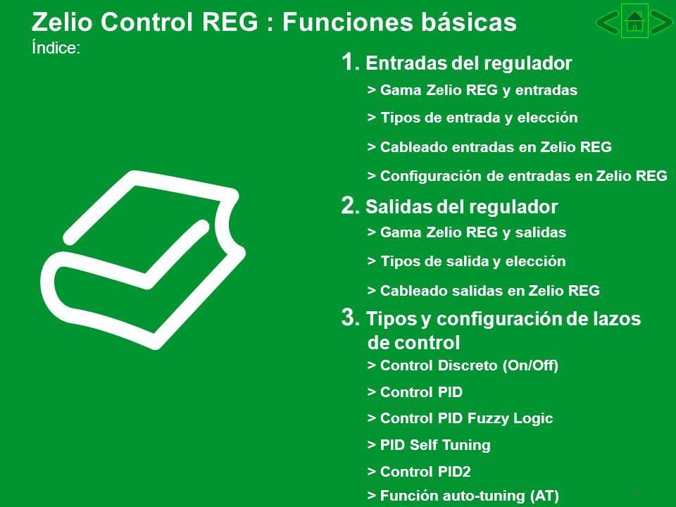 3 Zelio Control REG : Funciones básicas Índice: 1. Entradas del regulador 2. Salidas del regulador 3. Tipos y configuración de lazos de control > Gama