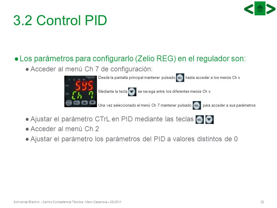 32Schneider Electric - Centro Competencia Técnica - Marc Casanova – 09.2011 Los parámetros para configurarlo (Zelio REG) en el regulador son: Acceder