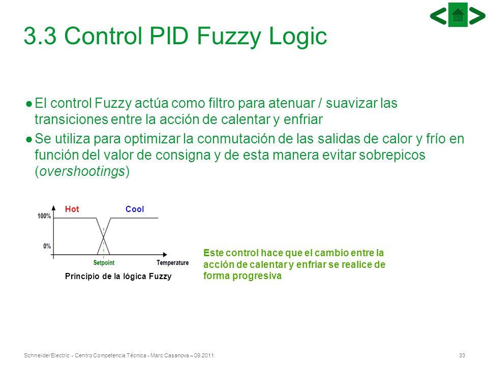 33Schneider Electric - Centro Competencia Técnica - Marc Casanova – 09.2011 3.3 Control PID Fuzzy Logic El control Fuzzy actúa como filtro para atenua