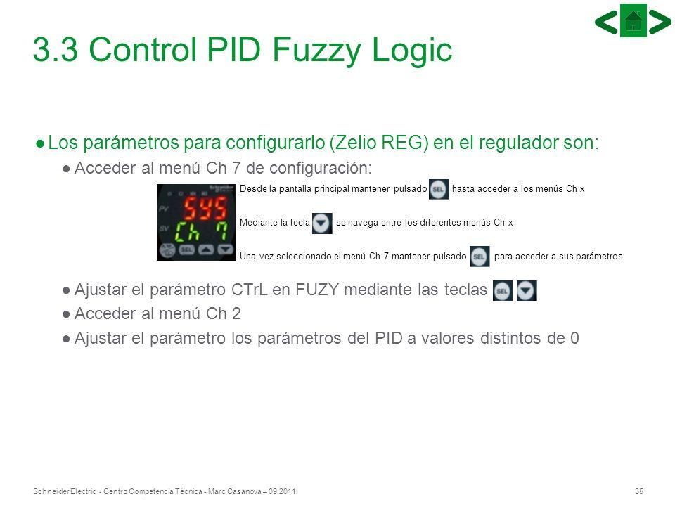 35Schneider Electric - Centro Competencia Técnica - Marc Casanova – 09.2011 Los parámetros para configurarlo (Zelio REG) en el regulador son: Acceder