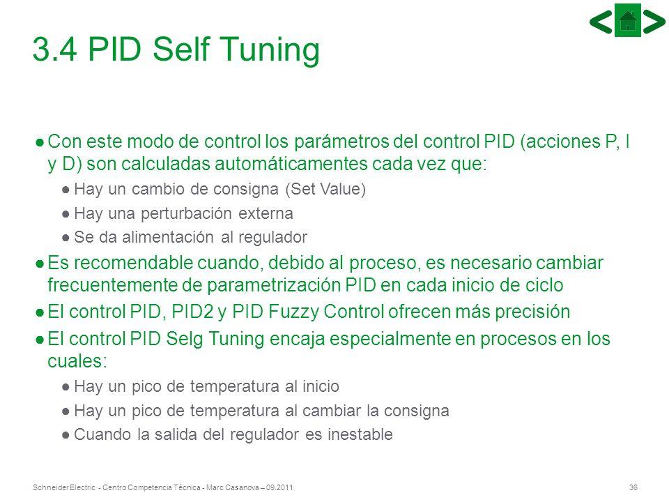 36Schneider Electric - Centro Competencia Técnica - Marc Casanova – 09.2011 3.4 PID Self Tuning Con este modo de control los parámetros del control PI