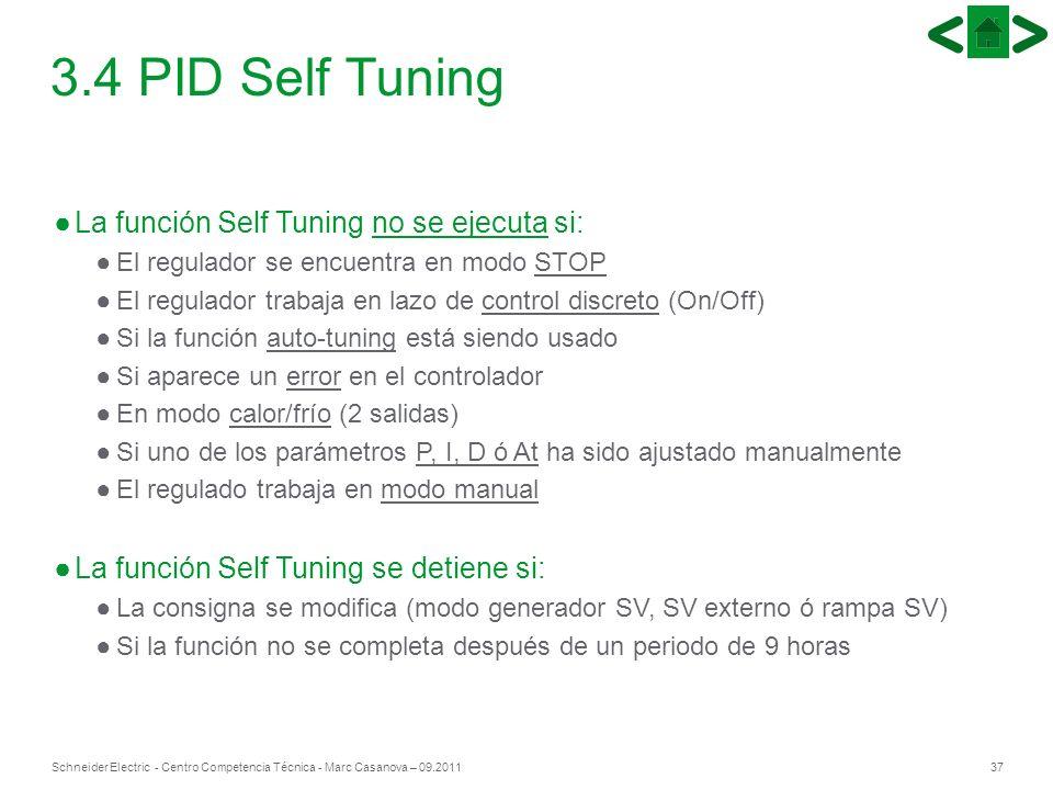 37Schneider Electric - Centro Competencia Técnica - Marc Casanova – 09.2011 3.4 PID Self Tuning La función Self Tuning no se ejecuta si: El regulador