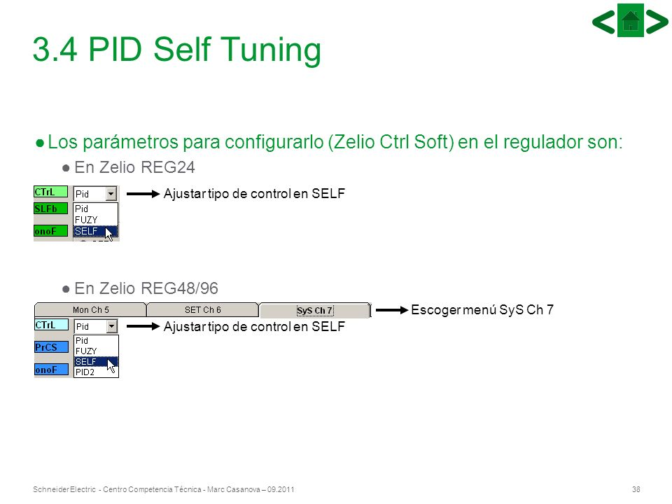 38Schneider Electric - Centro Competencia Técnica - Marc Casanova – 09.2011 3.4 PID Self Tuning Los parámetros para configurarlo (Zelio Ctrl Soft) en