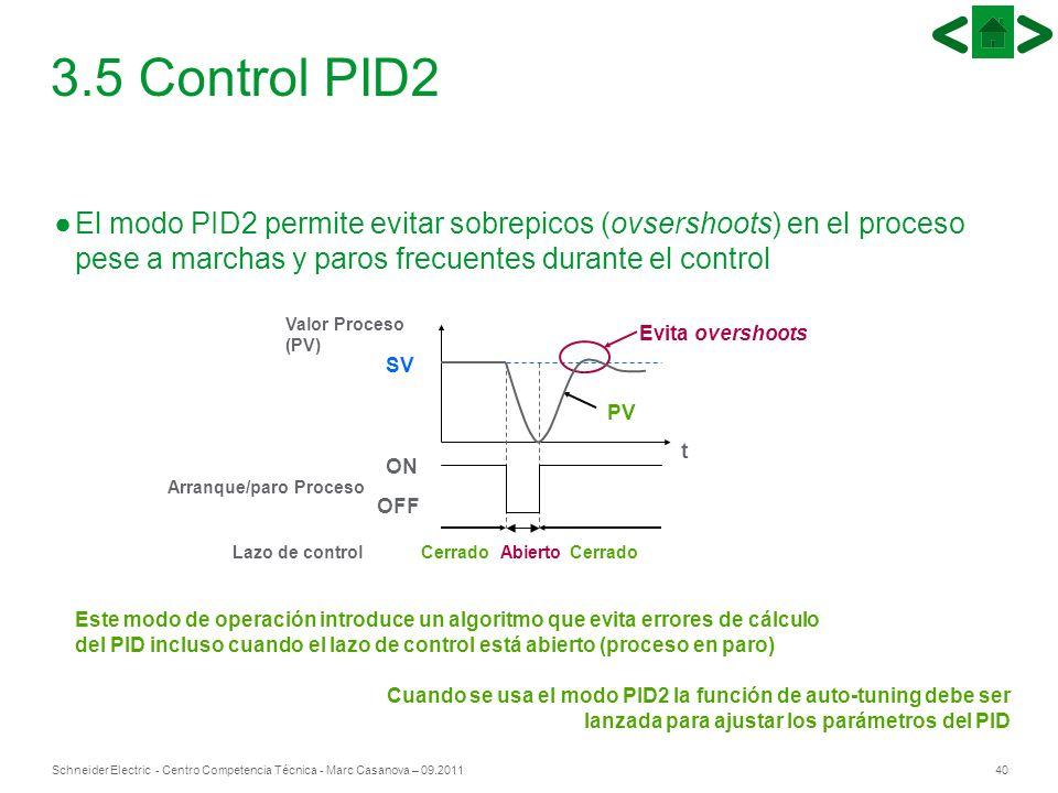 40Schneider Electric - Centro Competencia Técnica - Marc Casanova – 09.2011 El modo PID2 permite evitar sobrepicos (ovsershoots) en el proceso pese a