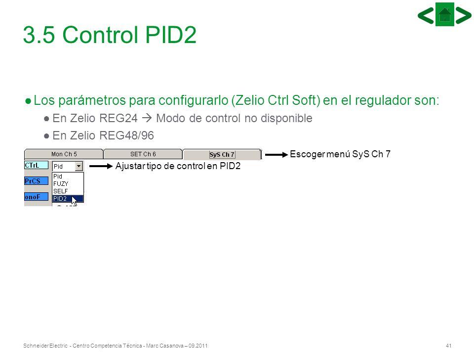 41Schneider Electric - Centro Competencia Técnica - Marc Casanova – 09.2011 3.5 Control PID2 Los parámetros para configurarlo (Zelio Ctrl Soft) en el
