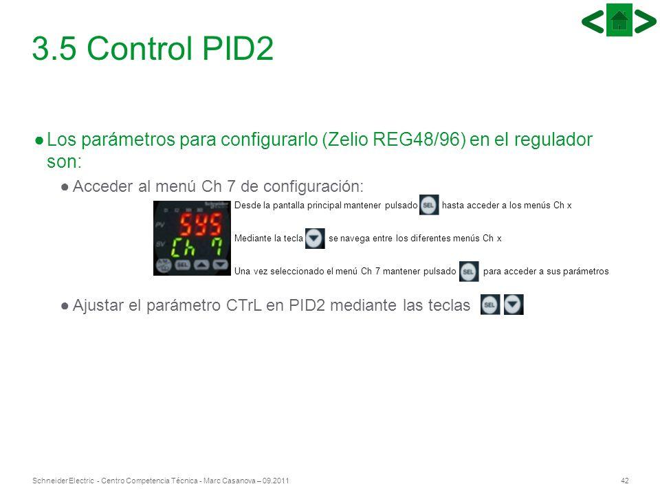 42Schneider Electric - Centro Competencia Técnica - Marc Casanova – 09.2011 Los parámetros para configurarlo (Zelio REG48/96) en el regulador son: Acc