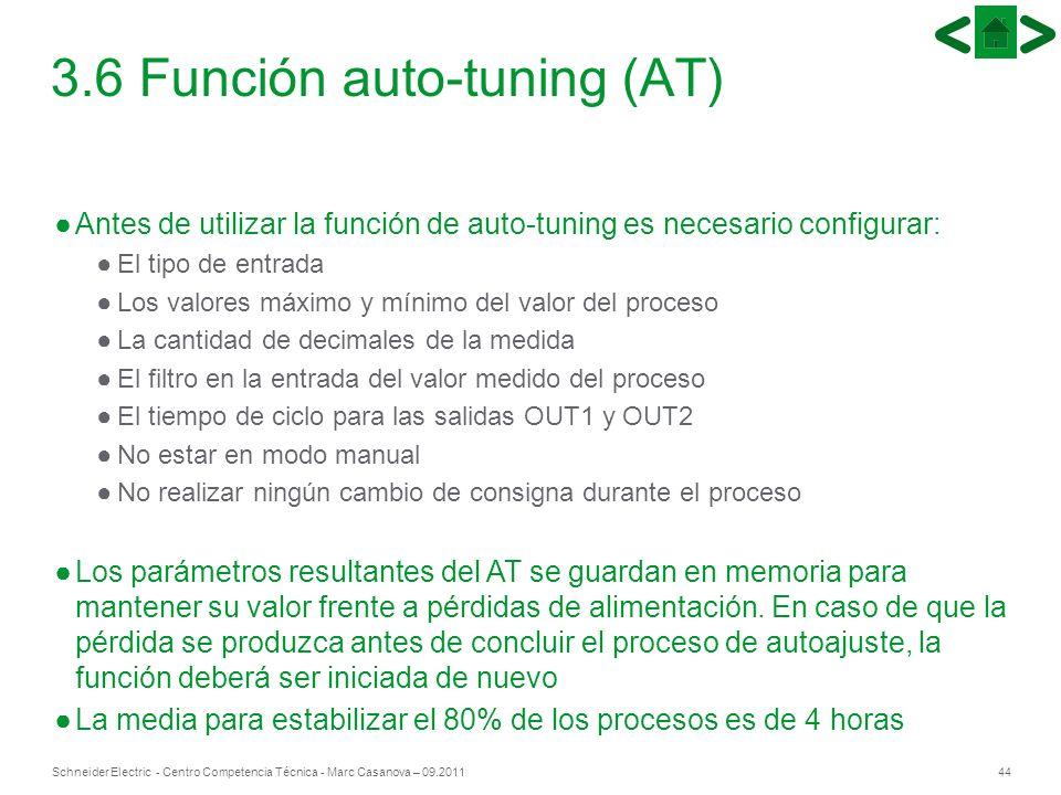 44Schneider Electric - Centro Competencia Técnica - Marc Casanova – 09.2011 Antes de utilizar la función de auto-tuning es necesario configurar: El ti