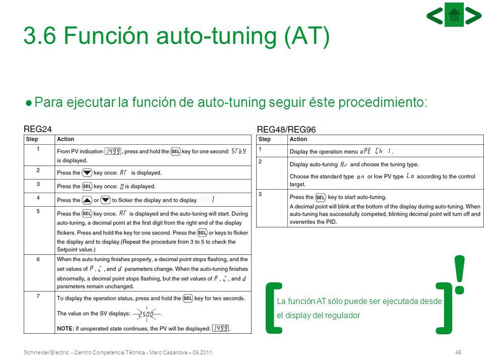 45Schneider Electric - Centro Competencia Técnica - Marc Casanova – 09.2011 Para ejecutar la función de auto-tuning seguir éste procedimiento: 3.6 Fun