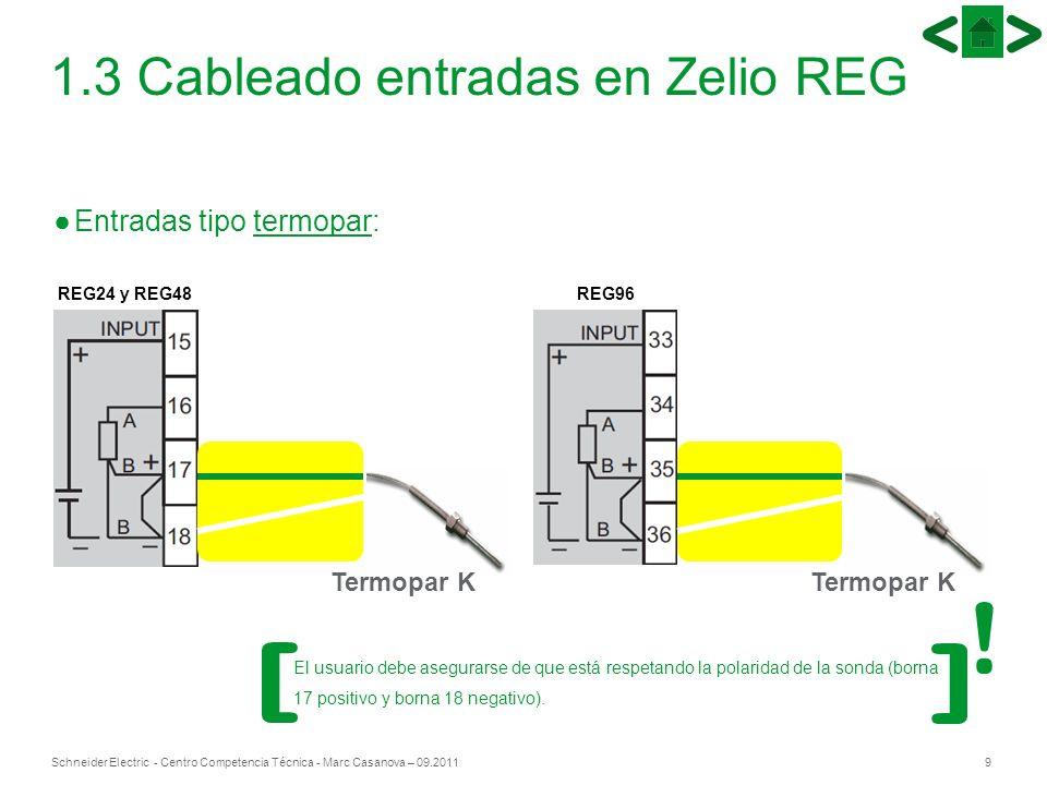 9Schneider Electric - Centro Competencia Técnica - Marc Casanova – 09.2011 1.3 Cableado entradas en Zelio REG Entradas tipo termopar: REG24 y REG48REG