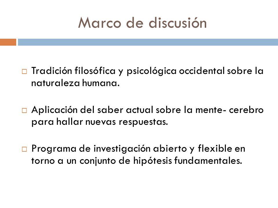 Marco de discusión Tradición filosófica y psicológica occidental sobre la naturaleza humana.