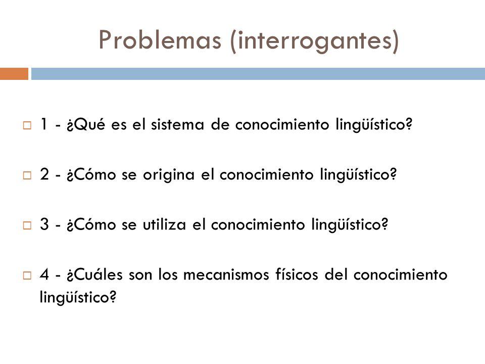 Problemas (interrogantes) 1 - ¿Qué es el sistema de conocimiento lingüístico.