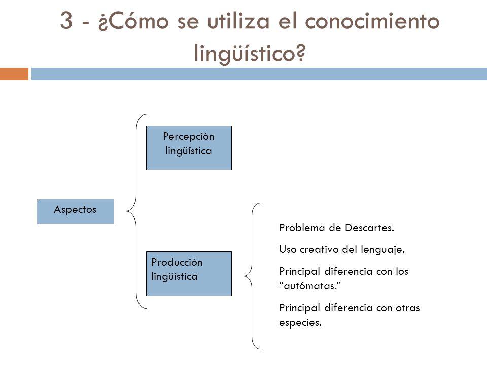 2 - ¿Cómo se origina el conocimiento lingüístico? Problema de Platón: Menón, Socrates y el esclavo. Propuesta chomskiana: herencia biológica (determin