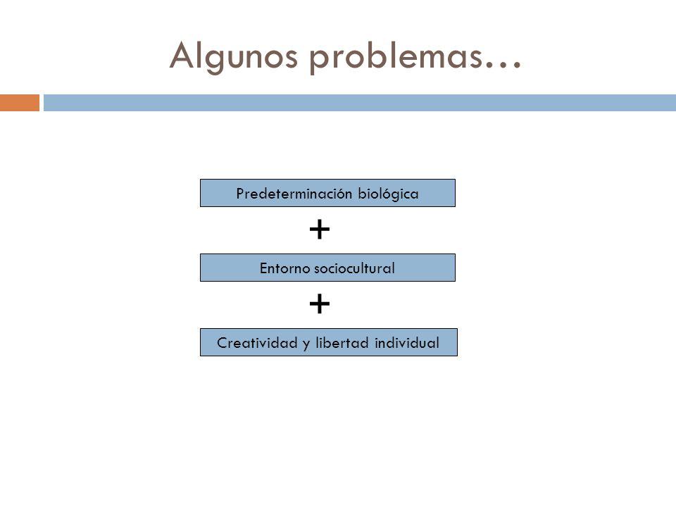 Algunos problemas… Predeterminación biológica Entorno sociocultural Creatividad y libertad individual + +
