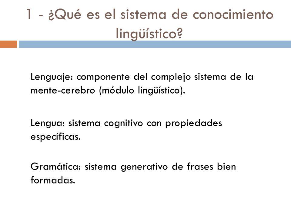 4 - ¿Cuáles son los mecanismos físicos del conocimiento lingüístico? Pocas respuestas. Legitimidad epistemológica: Adecuación observacional. Adecuació