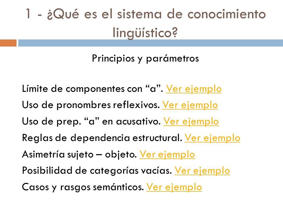 1 - ¿Qué es el sistema de conocimiento lingüístico? Lenguaje: componente del complejo sistema de la mente-cerebro (módulo lingüístico). Lengua: sistem