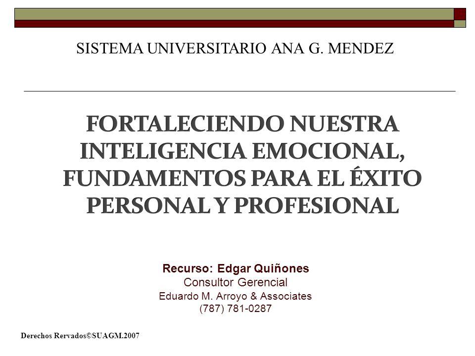 Derechos Rervados©SUAGM.2007 Recurso: Edgar Quiñones Consultor Gerencial Eduardo M. Arroyo & Associates (787) 781-0287 SISTEMA UNIVERSITARIO ANA G. ME