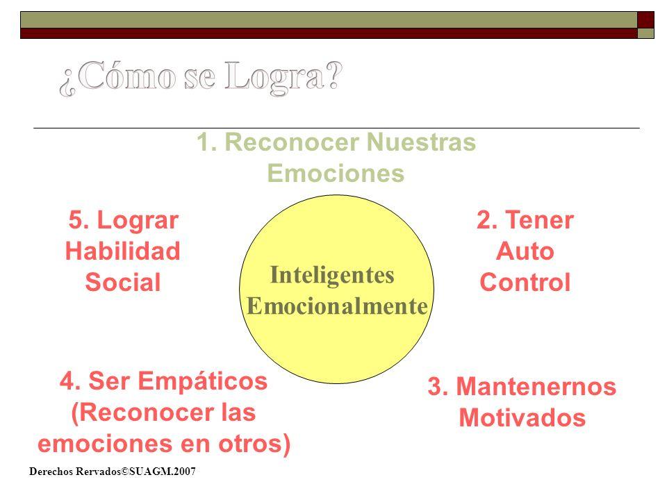 Derechos Rervados©SUAGM.2007 Inteligentes Emocionalmente 2. Tener Auto Control 4. Ser Empáticos (Reconocer las emociones en otros) 5. Lograr Habilidad
