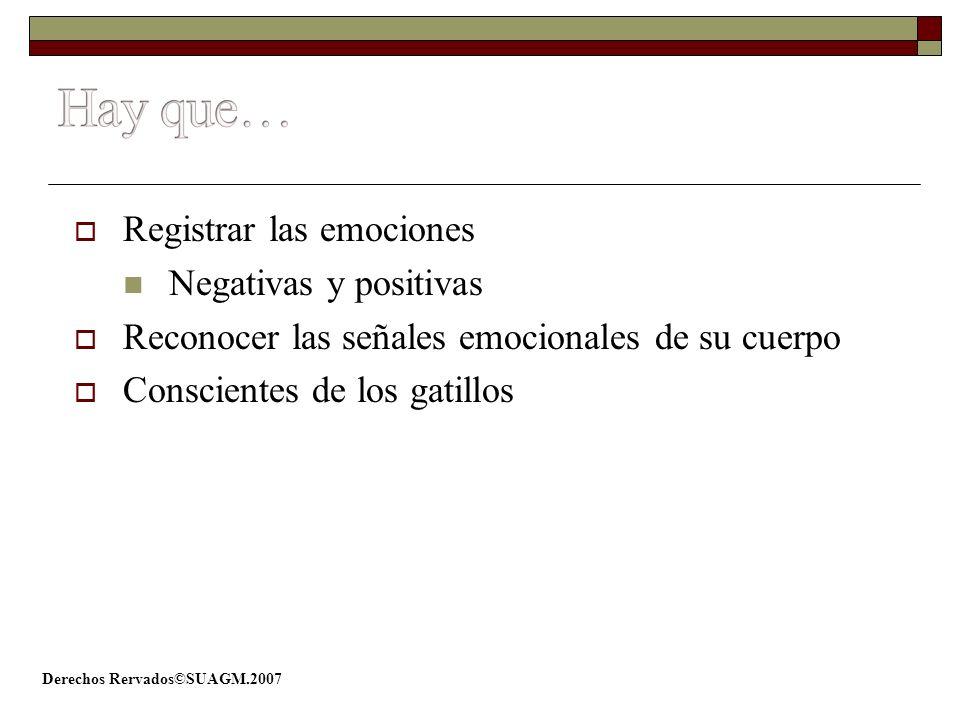 Derechos Rervados©SUAGM.2007 Registrar las emociones Negativas y positivas Reconocer las señales emocionales de su cuerpo Conscientes de los gatillos