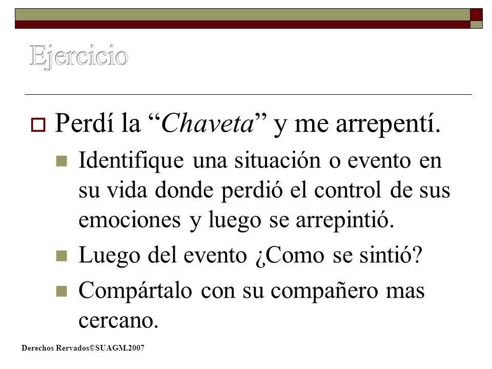 Derechos Rervados©SUAGM.2007 Perdí la Chaveta y me arrepentí. Identifique una situación o evento en su vida donde perdió el control de sus emociones y