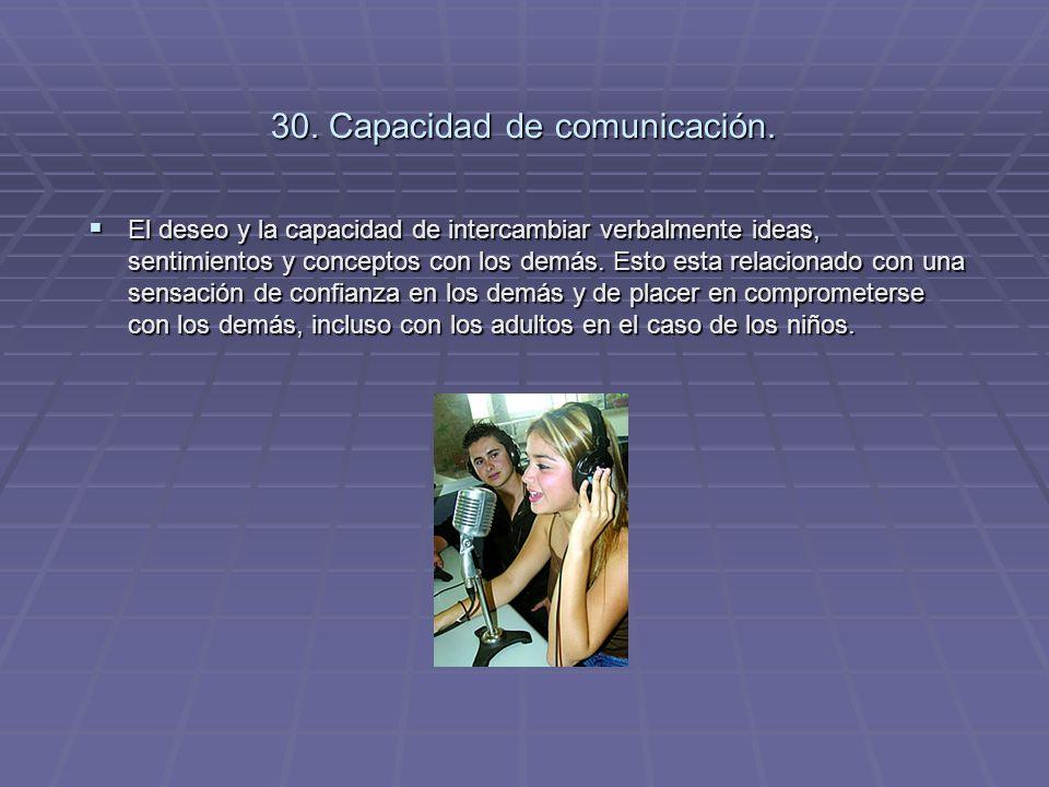 30. Capacidad de comunicación. El deseo y la capacidad de intercambiar verbalmente ideas, sentimientos y conceptos con los demás. Esto esta relacionad