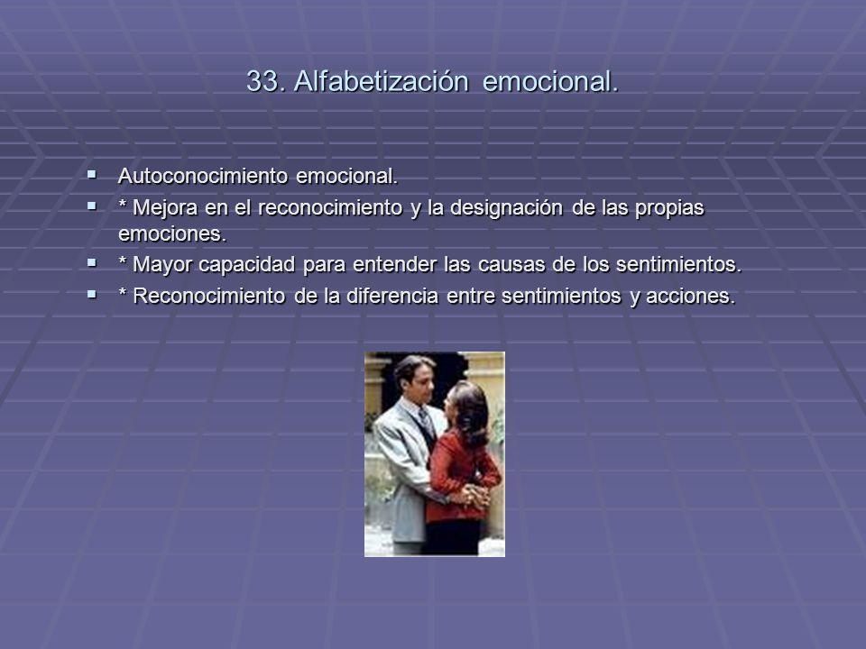 33. Alfabetización emocional. Autoconocimiento emocional. Autoconocimiento emocional. * Mejora en el reconocimiento y la designación de las propias em