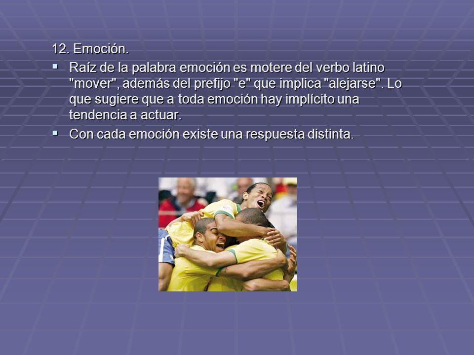 12. Emoción. Raíz de la palabra emoción es motere del verbo latino