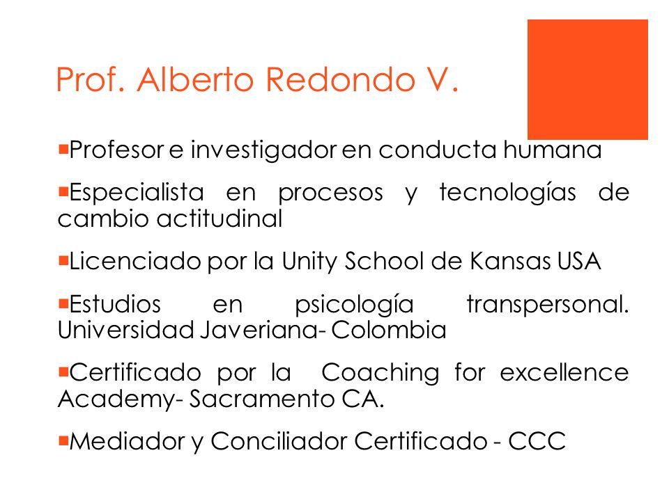 Prof. Alberto Redondo V. Profesor e investigador en conducta humana Especialista en procesos y tecnologías de cambio actitudinal Licenciado por la Uni