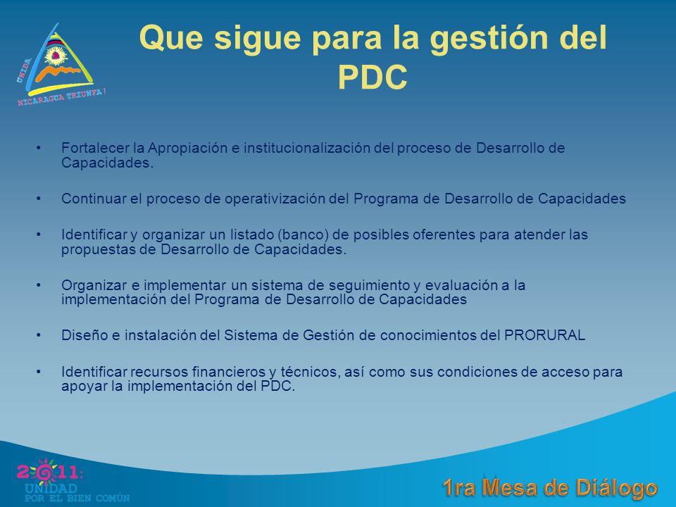 Que sigue para la gestión del PDC Fortalecer la Apropiación e institucionalización del proceso de Desarrollo de Capacidades.