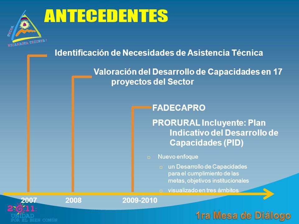 Identificación de Necesidades de Asistencia Técnica 200820072009-2010 Valoración del Desarrollo de Capacidades en 17 proyectos del Sector FADECAPRO PRORURAL Incluyente: Plan Indicativo del Desarrollo de Capacidades (PID) Nuevo enfoque un Desarrollo de Capacidades para el cumplimiento de las metas, objetivos institucionales visualizado en tres ámbitos