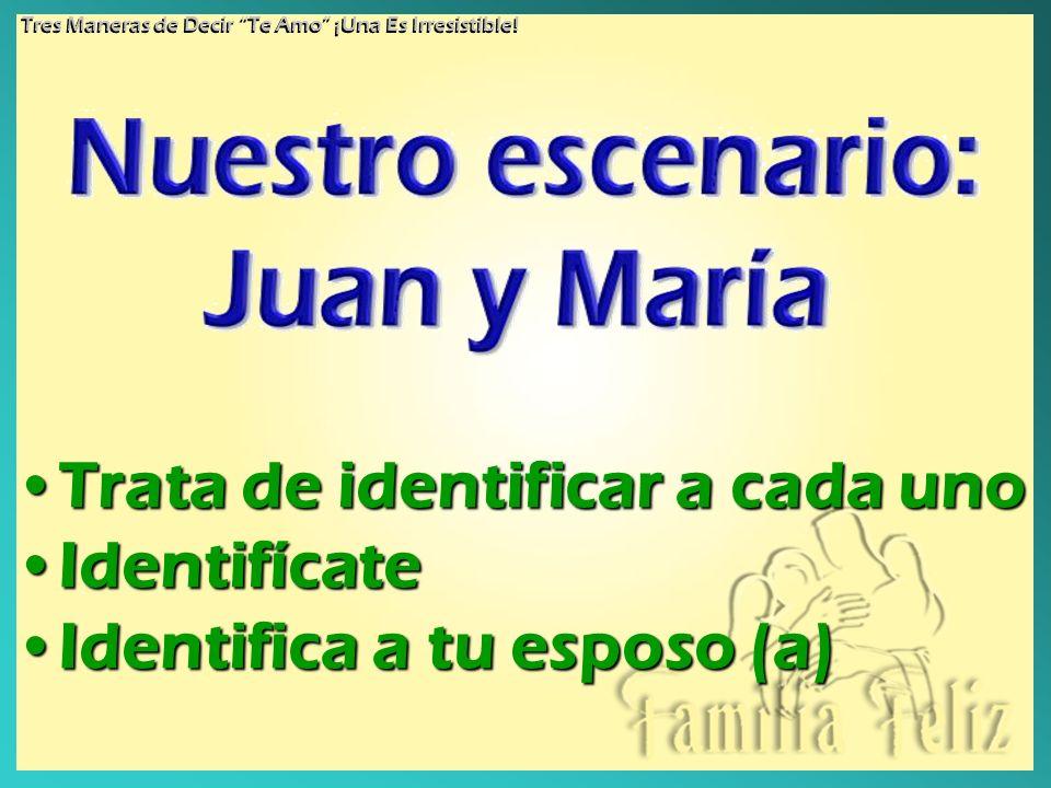 Trata de identificar a cada unoTrata de identificar a cada uno IdentifícateIdentifícate Identifica a tu esposo (a)Identifica a tu esposo (a) Tres Mane