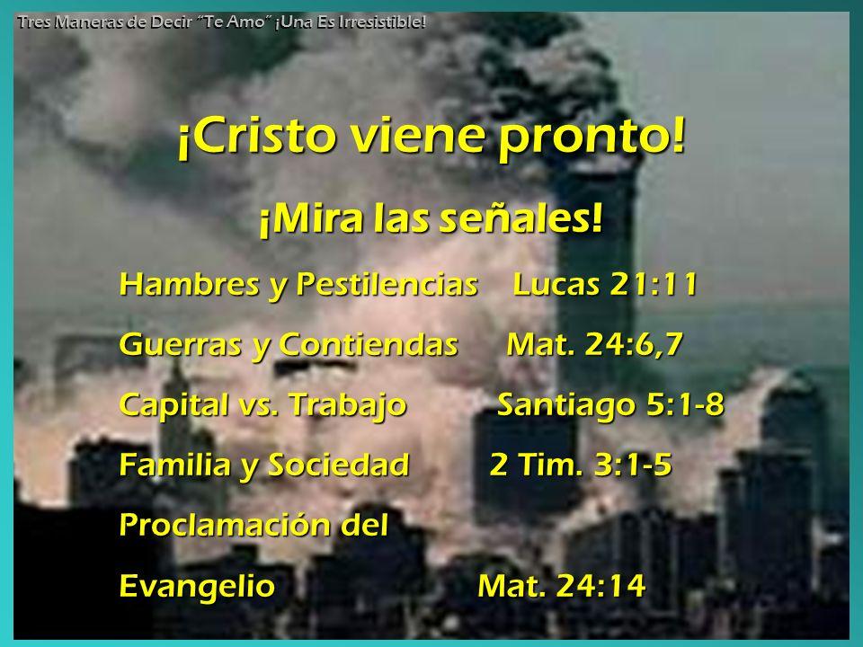 ¡Cristo viene pronto! ¡Mira las señales! Hambres y Pestilencias Lucas Lucas 21:11 Guerras y Contiendas Mat. 24:6,7 Capital vs. Trabajo Santiago Santia