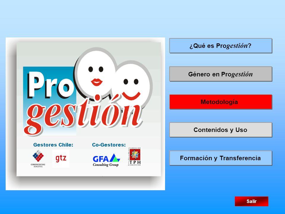 Género en Pro gestión Metodología ¿Qué es Pro gestión ? Salir Gestores Chile:Co-Gestores: Contenidos y Uso Formación y Transferencia