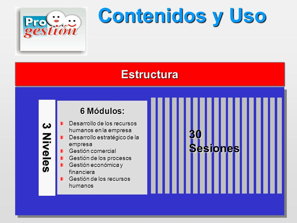 Estructura Contenidos y Uso 3 Niveles 6 Módulos: Desarrollo de los recursos humanos en la empresa Desarrollo estratégico de la empresa Gestión comerci