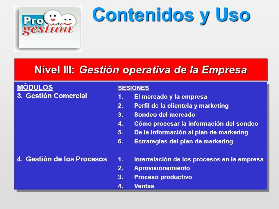 MÓDULOS 3.Gestión Comercial 4.Gestión de los Procesos MÓDULOS 3.Gestión Comercial 4.Gestión de los Procesos Nivel III: Gestión operativa de la Empresa
