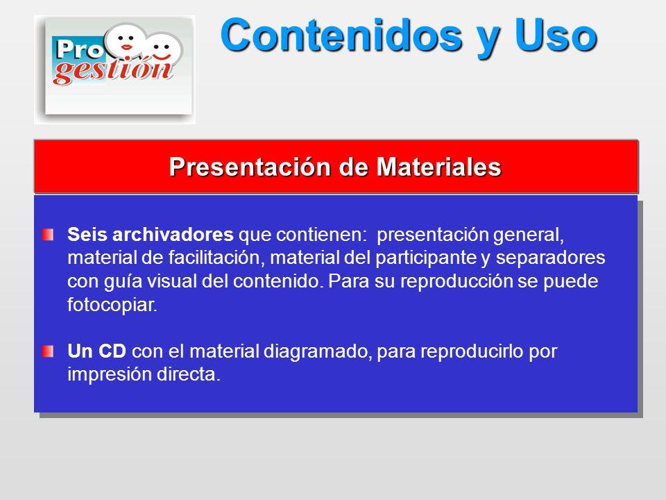 Seis archivadores que contienen: presentación general, material de facilitación, material del participante y separadores con guía visual del contenido