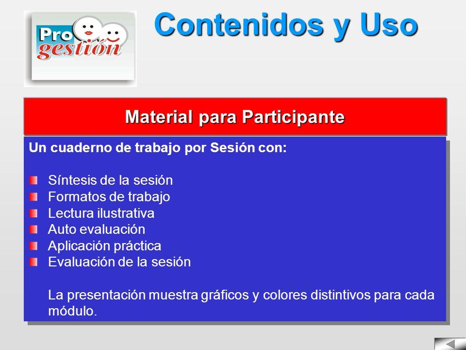 Un cuaderno de trabajo por Sesión con: Síntesis de la sesión Formatos de trabajo Lectura ilustrativa Auto evaluación Aplicación práctica Evaluación de