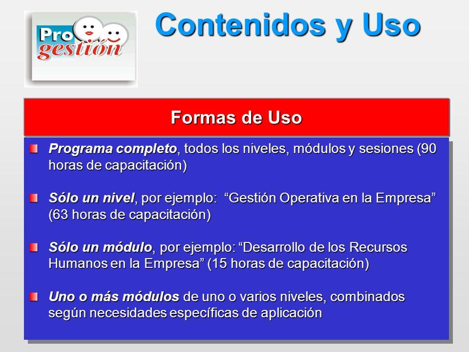 Programa completo, todos los niveles, módulos y sesiones (90 horas de capacitación) Sólo un nivel, por ejemplo: Gestión Operativa en la Empresa (63 ho
