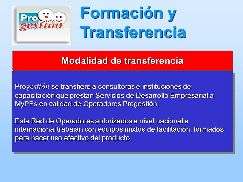 Pro gestión se transfiere a consultoras e instituciones de capacitación que prestan Servicios de Desarrollo Empresarial a MyPEs en calidad de Operador