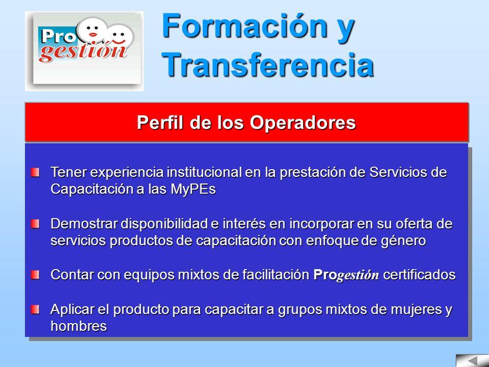 Tener experiencia institucional en la prestación de Servicios de Capacitación a las MyPEs Demostrar disponibilidad e interés en incorporar en su ofert