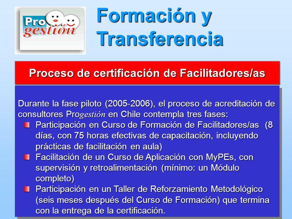 Durante la fase piloto (2005-2006), el proceso de acreditación de consultores Pro gestión en Chile contempla tres fases: Participación en Curso de For