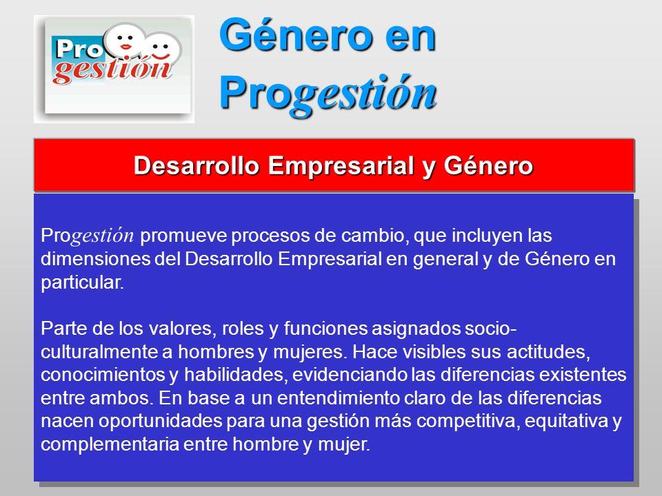 Pro gestión promueve procesos de cambio, que incluyen las dimensiones del Desarrollo Empresarial en general y de Género en particular. Parte de los va