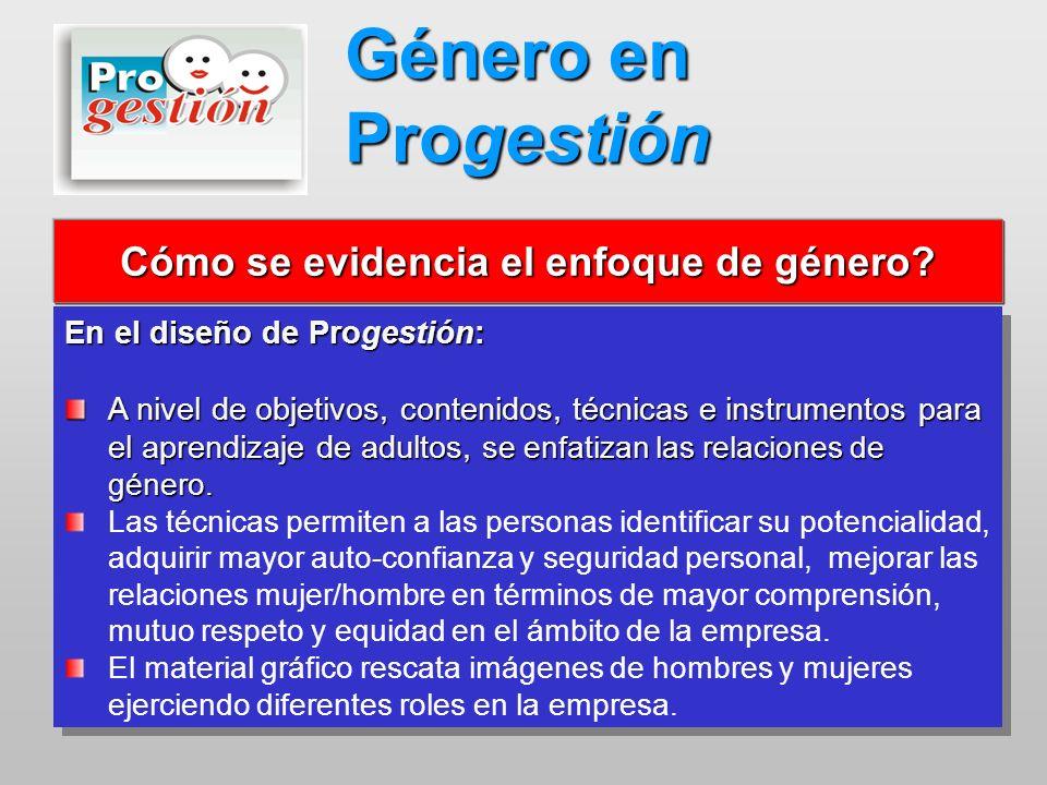 En el diseño de Progestión: A nivel de objetivos, contenidos, técnicas e instrumentos para el aprendizaje de adultos, s e enfatizan las relaciones de