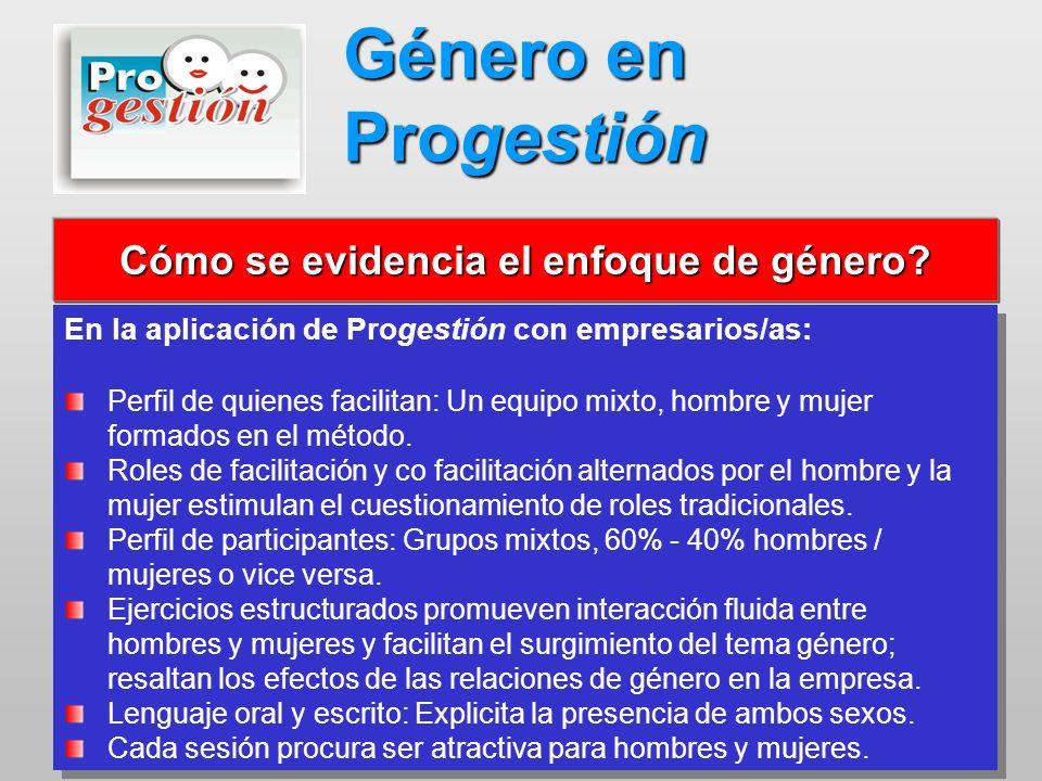 En la aplicación de Progestión con empresarios/as: Perfil de quienes facilitan: Un equipo mixto, hombre y mujer formados en el método. Roles de facili