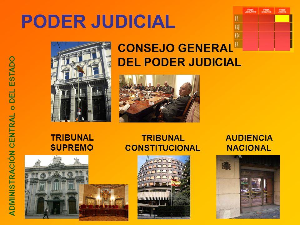PODER JUDICIAL ADMINISTRACIÓN CENTRAL o DEL ESTADO CONSEJO GENERAL DEL PODER JUDICIAL TRIBUNAL SUPREMO TRIBUNAL CONSTITUCIONAL AUDIENCIA NACIONAL